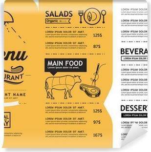 Fototapete Restaurant Menü-Design-Elemente mit Kreide gezeichnet ...