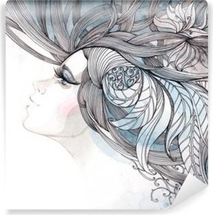 Vinyl-Fototapete Ihr Haar kunstvoll mit Laub