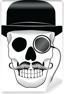 Vinyl-Fototapete Illustration von einem Totenkopf mit Hut Schnurrbart und Monokel