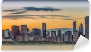 Vinyl-Fototapete Im Stadtzentrum gelegene Skyline Chicagos und Michigansee bei Sonnenuntergang