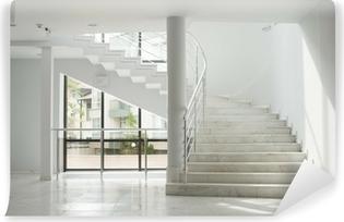 Vinyl Fototapete Innenansicht Eines Gebäude Mit Weißen Wänden