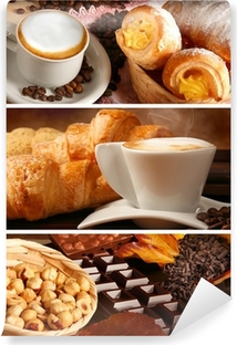 Vinyl-Fototapete Italienische Speisen, Cappuccino und heiße Schokolade mit Haselnüssen