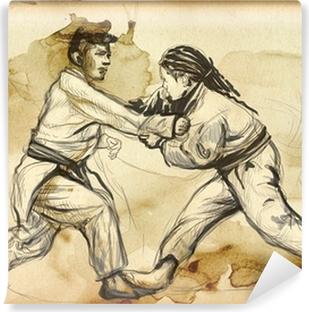 Vinyl-Fototapete Judo - ein voller Größe Hand gezeichnete Illustration