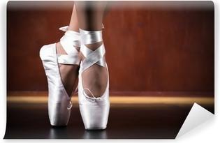 Vinyl-Fototapete Junge Ballerina tanzt, closeup
