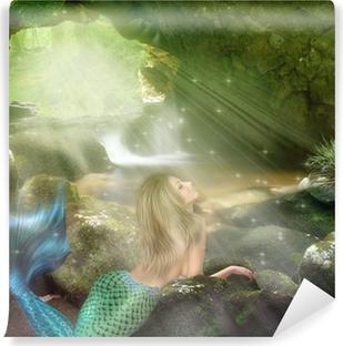 Vinyl-Fototapete Junge blonde Meerjungfrau
