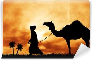 Vinyl-Fototapete Kamel in der Wüste