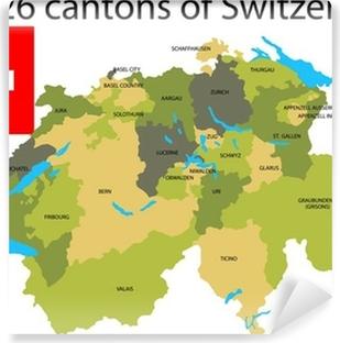 Vinyl-Fototapete Kantone der Schweiz.