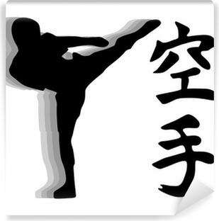 Vinyl-Fototapete Karate-Kämpfer - High Kick Vektor
