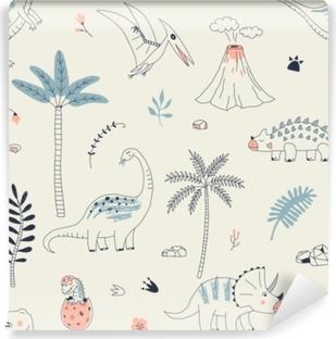 Vinyl-Fototapete Kindisches nahtloses Muster mit Hand gezeichnetem Dino im skandinavischen Stil. kreativer vektorkinderähnlicher Hintergrund für Gewebe, Textil, Bekleidung und mehr