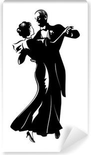 Vinyl-Fototapete Klassische Tanz-Paar Silhouette isoliert