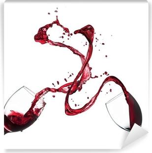 Vinyl-Fototapete Konzept der Rotwein spritzt aus Gläsern auf weißem Hintergrund
