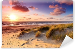 Vinyl-Fototapete Küste mit Dünen bei Sonnenuntergang