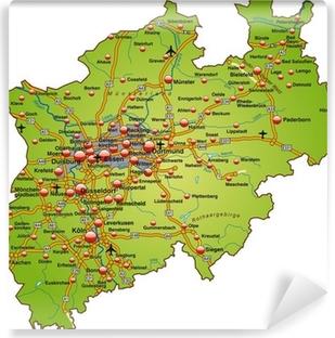 Vinyl-Fototapete Landkarte von Nordrhein-Westfalen