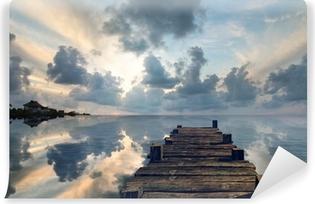 Vinyl-Fototapete Landschaft mit einem alten Pier