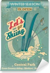 Vinyl-Fototapete Lassen Sie uns zum Skifahren Retro-Poster