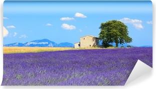 Vinyl-Fototapete Lavendel Blumen blühen Feld, Haus und Baum. Provence, Franc