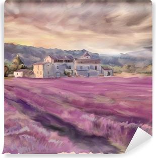 Vinyl-Fototapete Lavendelfeld in der Provence. Aquarellmalerei