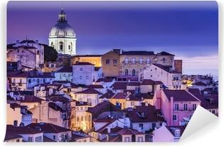 Vinyl-Fototapete Lissabon, Portugal Skyline an der Alfama