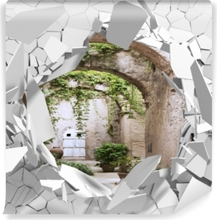 Vinyl-Fototapete Loch in der Wand - Arcade