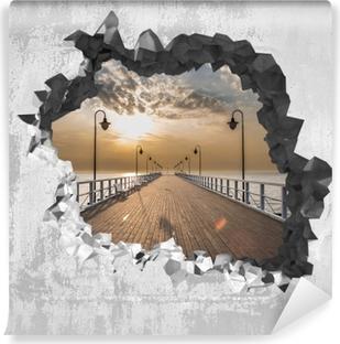 Vinyl-Fototapete Loch in der Wand - Sonnenaufgang am Pier