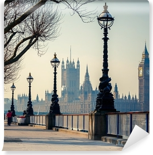Vinyl-Fototapete Londons Promenade mit Blick auf den Big Ben und das Parlament