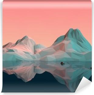 Vinyl-Fototapete Low-Poly 3D Berg Landschaft mit Wasser und Reflexion