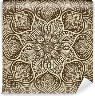Vinyl-Fototapete Mandala. Braun kreisförmigen Muster Hintergrund