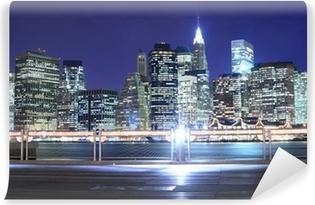 Fototapete Brooklyn Bridge und Manhattan Skyline At Night, New York ...