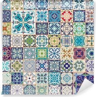 Fototapete Wunderschönes Florales Patchwork Design Bunte - Tapete portugiesische fliesen