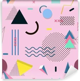 Vinyl-Fototapete Memphis Muster von geometrischen Formen für Gewebe und Postkarten.