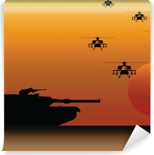 Vinyl-Fototapete Military Tank und Helikopter