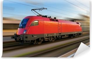 Vinyl-Fototapete Modernen europäischen elektrische Lokomotive mit Bewegungsunschärfe