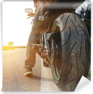 Vinyl-Fototapete Motorrad auf der Seite der Straße