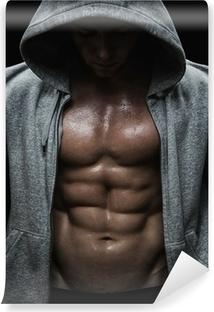 Vinyl-Fototapete Nahaufnahme von muskulösen Mann Sport nach Gewichte Ausbildung