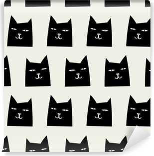 Vinyl-Fototapete Nahtlose Katze Muster