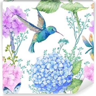 Vinyl-Fototapete Nahtlose Muster Illustration in Aquarell, Muster, Ornament zu Textildesign.Wallpaper, Aquarell Hydrangea Blumen und Libellen und kleine blaue Kolibri