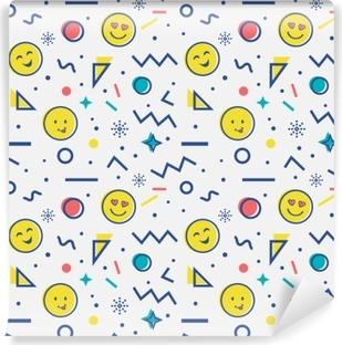 Vinyl-Fototapete Nahtlose Muster mit Emoji in Memphis-Stil.