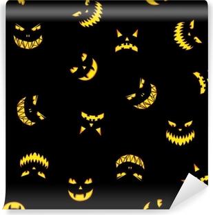 Vinyl-Fototapete Nahtlose Muster mit Halloween Kürbisse geschnitzte Gesichter Silhouetten auf schwarzem Hintergrund. Halloween-Hintergrund