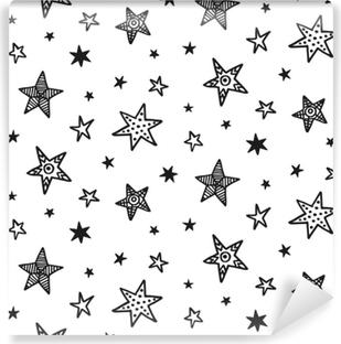 Vinyl-Fototapete Nahtlose Muster mit Hand gezeichneten Sternen. skandinavischer Stil