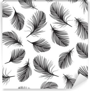 Vinyl-Fototapete Nahtlose Muster mit handgezeichneten Federn.