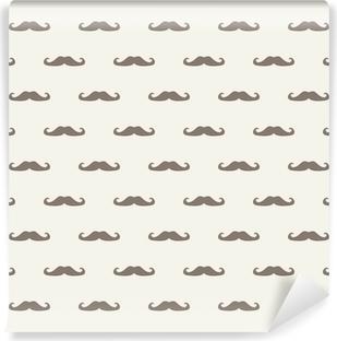Vinyl-Fototapete Nahtlose Vektor-Muster Textur Gentleman Schnurrbart Hintergrund