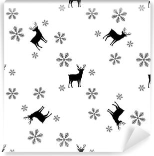 4463c826a15f6 Vinyl-Fototapete Nahtloses Wintermuster mit silbernen grauen Schneeflocken  und Rotwild geht mit Geweihen voran.