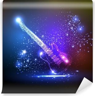 Vinyl-Fototapete Neonlicht Gitarre, Grunge-Musik