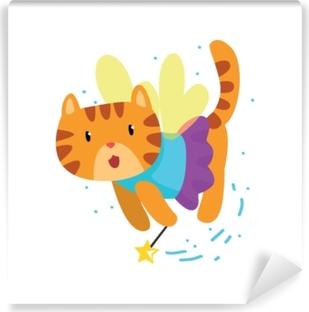Vinyl-Fototapete Nette geflügelte rote Katze mit einem magischen Stab, Tierzeichentrickfilm-figur-Vektorillustration der Fantasiemärchen