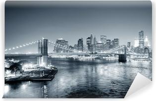 Vinyl-Fototapete New York City Manhattan Innenstadt schwarz und weiß