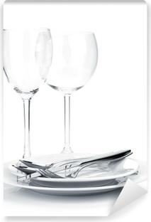 Vinyl-Fototapete Oder Silberbesteck auf Teller und Weingläser