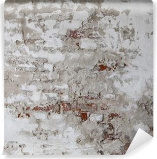 Vinyl-Fototapete Old Red Brick Wall mit Gebrochen Beton