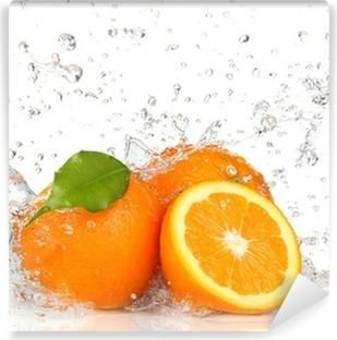 Vinyl-Fototapete Orange Früchte und Spritzwasser