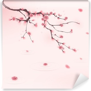 Vinyl-Fototapete Orientalischen Stil Malerei, Kirschblüte im Frühjahr