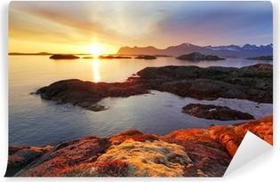 Vinyl-Fototapete Ozean Küste schönen Sonnenuntergang in Norwegen - Senja